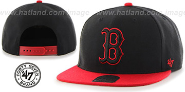 Red Sox 'NO-SHOT SNAPBACK' Black-Red Hat by Twins 47 Brand