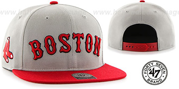 Red Sox 'SCRIPT-SIDE SNAPBACK' Grey-Red Hat by Twins 47 Brand