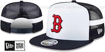 Red Sox SIDE-STRIPED TRUCKER SNAPBACK Hat by New Era