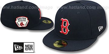 Red Sox 'SIDE TEAM-PATCH' Navy Fitted Hat by New Era