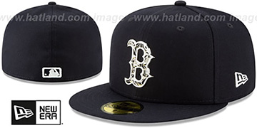 Red Sox SILVER SHATTERED METAL-BADGE Navy Fitted Hat by New Era