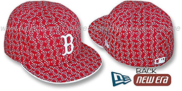 Red Sox SOX ALL-OVER FLOCKING Red-White Fitted Hat by New Era