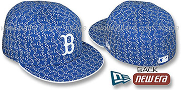 Red Sox SOX ALL-OVER FLOCKING Royal-White Fitted Hat by New Era