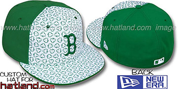 Red Sox 'ST PATS FLOCKING PINWHEEL' White-Kelly Fitted Hat by New Era
