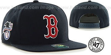Red Sox 'SURE-SHOT SNAPBACK' Navy Hat by Twins 47 Brand