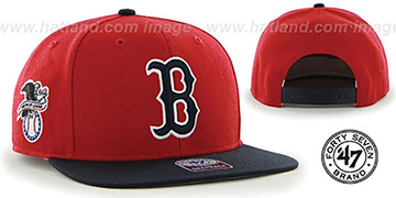Red Sox 'SURE-SHOT SNAPBACK' Red-Navy Hat by Twins 47 Brand