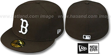 Red Sox 'TEAM-BASIC' Brown-White Fitted Hat by New Era