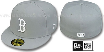 Red Sox 'TEAM-BASIC' Grey-White Fitted Hat by New Era