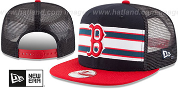 Red Sox 'THROWBACK-STRIPE SNAPBACK' Navy-Red Hat by New Era
