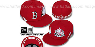 Red Sox TWO-BIT Red-White Fitted Hat by New Era