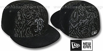 Red Sox 'VELVET PAISLEY' Black Fitted Hat by New Era