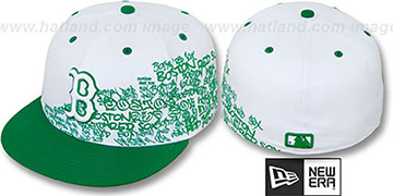 Red Sox WORD-UP White-Green Fitted Hat by New Era