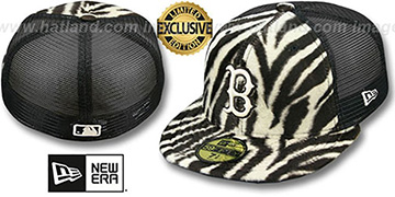 Red Sox ZEBRA ANIMAL-FUR MESH-BACK Fitted Hat by New Era