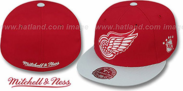Red Wings 2T XL-LOGO Red-Grey Fitted Hat by Mitchell & Ness
