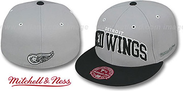 Red Wings 2T XL-WORDMARK Grey-Black Fitted Hat by Mitchell & Ness