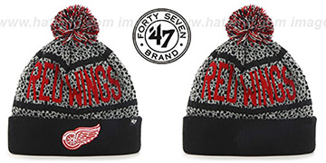 Red Wings BEDROCK Black-Grey Knit Beanie Hat by Twins 47 Brand