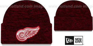 Red Wings 'BEVEL' Red-Black Knit Beanie Hat by New Era