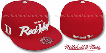Red Wings CLASSIC-SCRIPT Red Fitted Hat by Mitchell & Ness