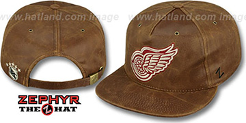 Red Wings 'DYNASTY LEATHER STRAPBACK' Brown Hat Zephyr