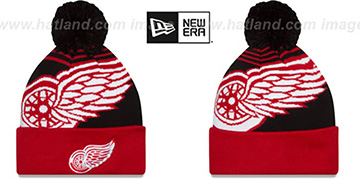 Red Wings 'LOGO WHIZ' Black-Red Knit Beanie Hat by New Era