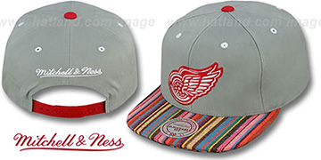 Red Wings 'NATIVE-STRIPE SNAPBACK' Grey Hat by Mitchell & Ness