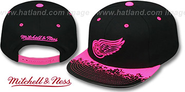 Red Wings 'NEON-LAVA SNAPBACK' Black-Pink Hat by Mitchell and Ness