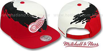 Red Wings 'PAINTBRUSH SNAPBACK' White-Black-Red Hat by Mitchell & Ness