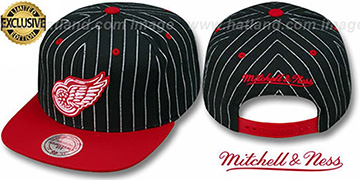 Red Wings 'PINSTRIPE 2T TEAM-BASIC SNAPBACK' Black-Red Adjustable Hat by Mitchell & Ness