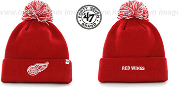 Red Wings POMPOM CUFF Red Knit Beanie Hat by Twins 47 Brand
