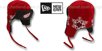 Red Wings 'SNOWFLAKE TRAPPER' Red-Black Knit Hat by New Era