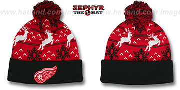 Red Wings UGLY SWEATER Black-Red Knit Beanie Hat by Zephyr