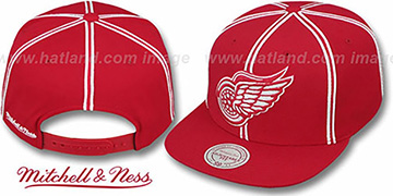 Red Wings 'XL-LOGO SOUTACHE SNAPBACK' Red Adjustable Hat by Mitchell & Ness