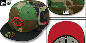 Reds '2T CAMO' Army-Black Fitted Hat by New Era