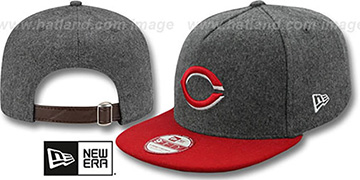 Reds 2T MELTON A-FRAME STRAPBACK Hat by New Era