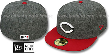 Reds '2T MELTON-BASIC' Grey-Red Fitted Hat by New Era