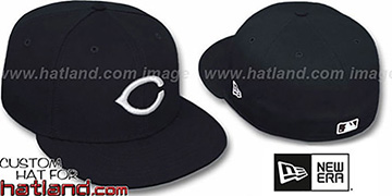 Reds 'TEAM-BASIC' Black-White Fitted Hat by New Era