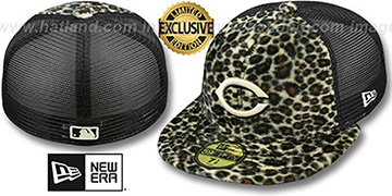 Reds CHEETAH ANIMAL-FUR MESH-BACK Fitted Hat by New Era