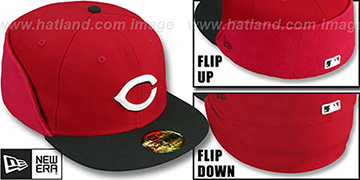 Reds CLEAN CUT FLIP-DOWN Red-Black Fitted Hat by New Era