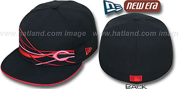 Reds FLAWLESS JETSTREAM Black-Red Fitted Hat by New Era