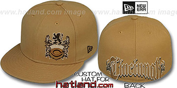 Reds OLD ENGLISH SOUTHPAW Wheat-Brown Fitted Hat by New Era