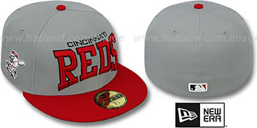 Reds 'PRO-ARCH' Grey-Red Fitted Hat by New Era