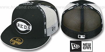 Reds 'REVERSE TAPE PW MESH-BACK' Black-White Fitted Hat by New Era
