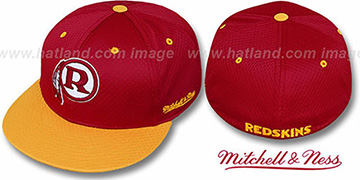 Redskins  '2T BP-MESH' Burgundy-Gold Fitted Hat by Mitchell & Ness