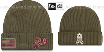 Redskins '2018 SALUTE-TO-SERVICE' Olive Knit Beanie Hat by New Era