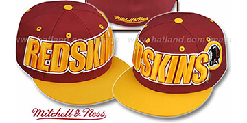 Redskins '2T WORDMARK' Burgundy-Gold Fitted Hat by Mitchell & Ness