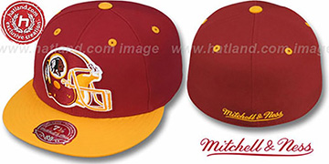 Redskins 2T XL-HELMET Burgundy-Gold Fitted Hat by Mitchell and Ness