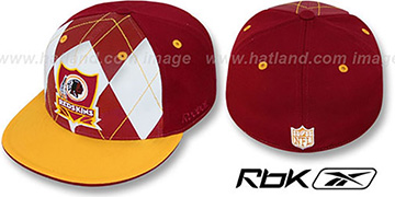 Redskins ARGYLE-SHIELD Burgundy-Gold Fitted Hat by Reebok