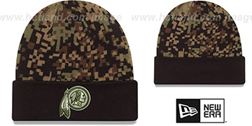 Redskins 'ARMY CAMO PRINT-PLAY' Knit Beanie Hat by New Era