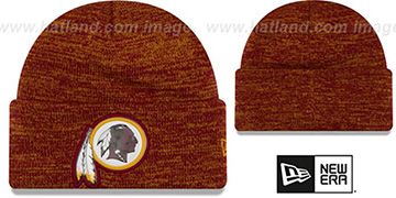 Redskins 'BEVEL' Burgundy-Gold Knit Beanie Hat by New Era