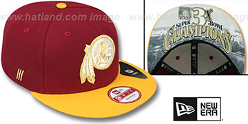 Redskins CHAMPS-HASH SNAPBACK Burgundy-Gold Hat by New Era